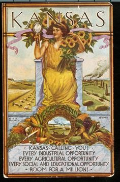 Kansas Calling You postcard, part of a publicity campaign coinciding with Kansas Day, January Designed by C. Wichita artist and founding member of the Prairie Print Makers Kansas Day, State Of Kansas, Topeka Kansas, Vintage Travel Posters, Vintage Postcards, Vintage Photos, Sunflower Tree, Art For Art Sake, The Ranch