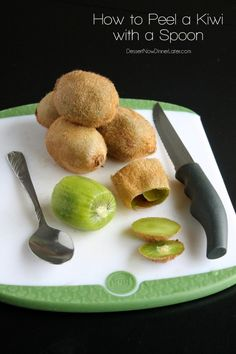 How to Peel a Kiwi with a Spoon - step-by-step photo tutorial (and video available) to help you get the maximum fruit from those tiny kiwis! | DessertNowDinnerLater.com #tutorial #howto #kiwi