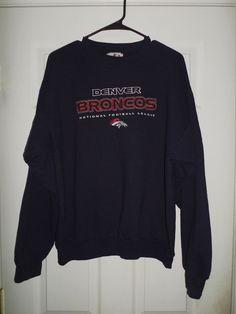 Mens Blue, Orange, White DENVER BRONCOS NFL Embroidered Sweatshirt, Size L,  GUC