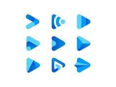 Play Logo Concept icon triangle web wifi internet minimal simple gradient blue brand mark shadow paper plane audio music concept logo play video