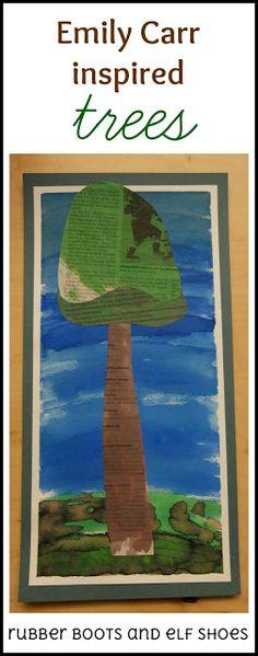 Emily Carr inspired tree paintings created by kindergarten kids. Kindergarten Art, Preschool Art, Artists For Kids, Art For Kids, Kid Art, 3rd Grade Art, Grade 2, Art Curriculum, Creative Curriculum