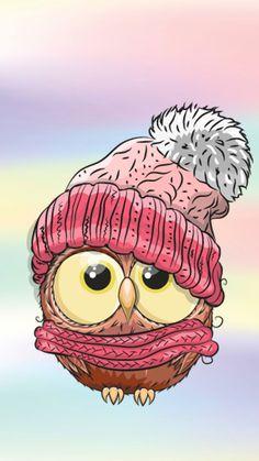 Owl Cartoon, Cute Cartoon, Cute Drawings, Animal Drawings, Owl Wallpaper, Happy Paintings, Owl Art, Owl Clip Art, Christmas Paintings