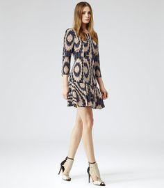 Womens Black Kaleidoscope Print Dress - Reiss Estelle