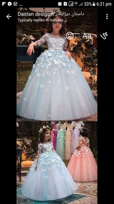 Wedding Dresses Ball Gown, Unique Tulle Bateau Neckline Half Sleeves Ball Gown Flower Girl Dresses With Belt & Bowknot & Beaded Handmade Flowers DressilyMe Little Girl Dresses, Girls Dresses, Flower Girl Dresses, Flower Girls, Cute Dresses, Beautiful Dresses, Kids Gown, Gowns For Kids, Dress Anak