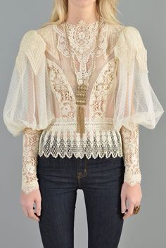 - Hints of romantic femininity to highlight the juxtaposition of a masculine garment - Sheer Puffed Sleeve Lace Victorian Blouse Victorian Blouse, Victorian Lace, Vintage Outfits, Vintage Fashion, Modern Victorian Fashion, Vestidos Vintage, Vintage Mode, Looks Vintage, Mannequins
