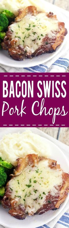 Bacon Swiss Pork Chops - Delivious pork chops covered in bacon and melted cheese. Served alongside a few veggies, this keto dinner tastes amazing. The recipe is low carb, gluten-free, and yummy too!