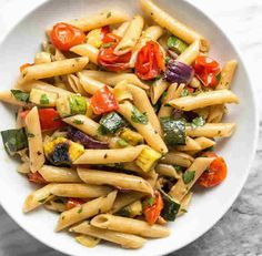 This classic summer Grilled Vegetable Pasta Salad features smoky fire licked vegetables and a homemade creamy balsamic vinaigrette. Grilled Vegetables, Veggies, Creamy Balsamic Vinaigrette, Balsamic Dressing, Vegetable Pasta Salads, Vegetarian Recipes, Healthy Recipes, Stuffed Peppers, Meals