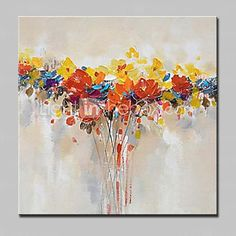 Pintados à mão Abstracto / Floral/Botânico Pinturas a óleo,Modern 1 Painel Tela Hang-painted pintura a óleo For Decoração para casa de 2017 por R$154.09