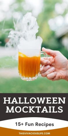 Halloween mocktails are spooky and fun plus, everyone can enjoy them. These non-alcoholic Halloween drinks are yummy will take your party to the next level! Plus, a mocktail recipe can be made in just a few minutes. These easy to make mocktails are perfect for fall, and make for the best cozy night in drink or a kids party! #HalloweenMocktails #NonAlcoholicDrinks #ThisVivaciousLife Hard Drinks, Fancy Drinks, Cocktail Drinks, Cocktail Recipes, Cocktails, Best Mocktails, Mocktails For Kids, Halloween Drinks, Holiday Drinks