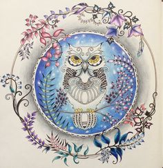 johanna Basford owl enchanted forest coloring a snowy owl Coloring Book Art, Colouring Pages, Adult Coloring, Enchanted Forest Book, Enchanted Forest Coloring Book, Johanna Basford Coloring Book, Johanna Basford Books, Beautiful Forest, Illustrations