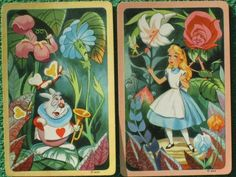 """Features two beautiful art swap cards of """" Alice In Wonderland """". Published 1951 by W. P. Co. Listed in their catalog as """" No. 1876 Alice in Wonderland """". Individual playing cards (swap cards) are one of the hottest collectibles out there right now. 