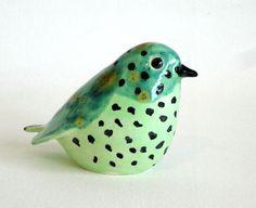 green clay bird by ecorock on Etsy