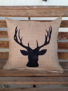 Items similar to Burlap deer pillow, lodge decor, rustic decor, throw pillow, accent pillow on Etsy Burlap Pillows, Gold Pillows, Accent Pillows, Decorative Pillows, Throw Pillows, Western Decor, Country Decor, Rustic Decor, Cerf Design