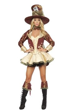BURGUNDY GOLD DELUXE 4 PIECE TEA PARTY HATER COSTUME Amiclubwear Costume Online Storesexy