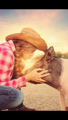 Greatest Senior picture ever! Country girl and her show pig...
