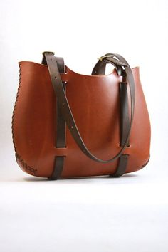 market tote bag. leather tote in cherry wood by underthetreeithaca, $145.00