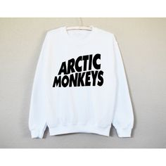 Arctic Monkeys Shirt Sweatshirt Crew Neck Sweatshirt Concert Band... (€18) ❤ liked on Polyvore featuring tops, t-shirts, shirts, silver, women's clothing, monkey t shirt, cuff shirts, crewneck tee, ribbed t shirt and graphic shirts