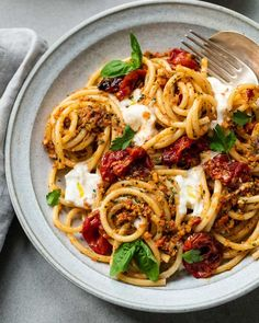 Bucatini with Burrata and Sicilian Almond Pesto - A strong bucatini pasta dish, . Bucatini with Burrata and Sicilian Almond Pesto - A strong bucatini pasta dish, sauced with a toasted almond, dried tomato and contemporary herb pesto. Healthy Recipes, Top Recipes, Pasta Recipes, Vegetarian Recipes, Dinner Recipes, Cooking Recipes, Vegetarian Diets, Cheap Recipes, Cooking Food
