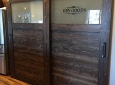 Reclaimed wood bypass doors for a pantry By Story Barns Reclaimed Wood Furniture, Dry Goods, Barn Doors, Barns, Pantry, Repurposed, Interior Decorating, Woodworking, Kitchen