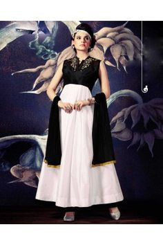 Black and White Embroidered Ethnic Gown White Anarkali, Silk Anarkali Suits, Long Anarkali, Anarkali Dress, Salwar Suits, Ethnic Gown, Indian Ethnic Wear, White Silk, Black Silk