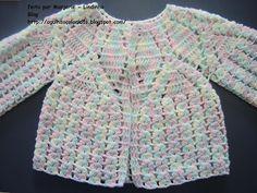 Agulhas Coloridas Croche e Trico: PAP do Casaquinho de bebe croche-24 Crochet Baby Sweaters, Crochet Baby Cardigan, Crochet Baby Clothes, Crochet Dress Girl, Crochet Bebe, Baby Girl Crochet, Gilet Crochet, Crochet Jacket, Knit Crochet