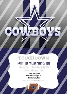 Dallas cowboy dallas cowboy birthday invitation dallas cowboy dallas cowboys personalized digital party invitation 50 any occasion filmwisefo Gallery