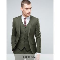 Heart & Dagger Super Skinny Suit Jacket In Khaki (215 CAD) ❤ liked on Polyvore featuring men's fashion, men's clothing, men's suits, green, tall and skinny mens clothing, mens skinny suits, mens skinny fit suits, tall mens clothing and mens green suit