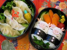 Piggies and Chicken & Vegetable Gyoza Bento   Hawai`i's Bento Box Cookbook, Bentos and More for Kids