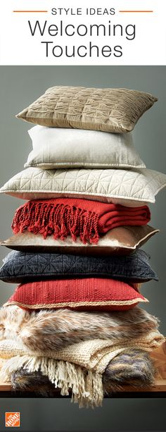 Make your guests feel at home this Christmas by styling your guest room with warm accents. Set aside cozy throw pillows and blankets for loved ones to grab at their own leisure. The Home Depot offers a variety of classic styles in red, cream, navy and faux fur. Click to shop inviting pieces for your space.