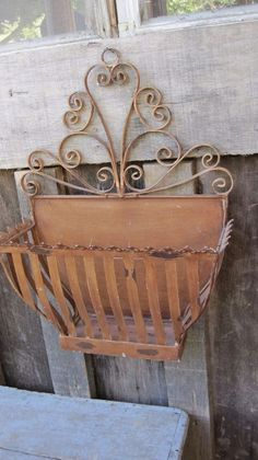 Details about Rustic Metal Flower Basket Pot Wall Hanging Planter Boxes Home Gar