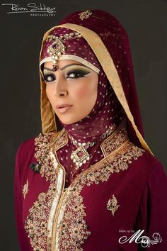 Muslim bride (Note the difference with the head covering. The bride's entire hair is covered whereas a Sikh or Hindu bride's hair would be visible) Bridal Hijab, Hijab Wedding Dresses, Bridal Dresses, Islamic Fashion, Muslim Fashion, Hijab Fashion, Hijab Styles, Covet Fashion, Collection Eid