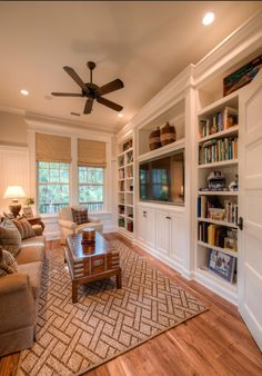 When homeowners invite guests and company into their home typically the first thing that visitors see is the living room, or family room, of the house. Unless there is a foyer before the living roo… Bookshelf Design, Bookshelves Built In, Built Ins, Bookcases, Bookcase Styling, Family Room Walls, Family Room Design, Traditional Family Rooms, Traditional House