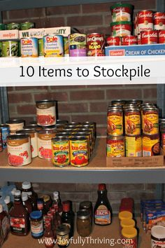 Here's a list of items that anyone can stockpile to save money! (I could use this list as a guideline and make the items by canning it and then stockpile it) This is a great place to start saving on your grocery bill Emergency Food, Survival Food, Prepper Food, Survival Items, Emergency Preparation, Emergency Kits, Survival Stuff, Survival Prepping, Emergency Planning