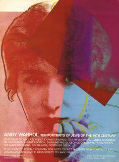 Vintage Ad - Andy Warhol's Ten Portraits of Jews of the 20th Century (Sarah Bernhardt, Louis Brandeis, Martin Buber, Albert Einstein, Sigmund Freud, George Gershwin, Franz Kafka, The Marx Brothers, Golda Meir, Gertrude Stein), 1980.
