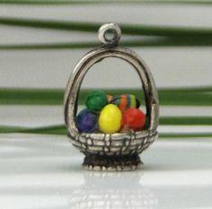Silver and Enamel Easter Basket Charm | eBay