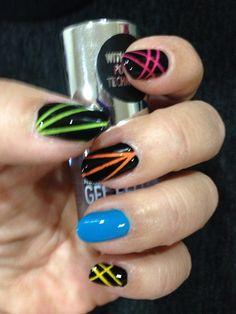 Neon strip nail art