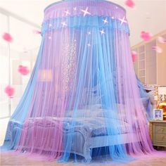 Buy 2019 New Elegant Lace Bed Canopy Mosquito Net Dome Hanging Lace Insect Net Encryption Heightening Ceiling Princess Dome Court at Wish - Shopping Made Fun Princess Canopy Bed, Princess Bedrooms, Princess Beds, Princess Bedroom Decorations, Princess Room Decor, Unicorn Bedroom Decor, Unicorn Rooms, Room Ideas Bedroom, Girl Bedroom Designs