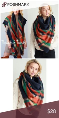 Plaid Blanket Scarf NAVY AND MULTI COLOR BIG PLAID PATTERN FRAYED OVERSIZED SQUARE SCARF/BLANKET SCARF. 100% ACRYLIC 55 X 55.           Search ID # chunky knit long infinity cowl neck scarf Threads & Trends Accessories Scarves & Wraps