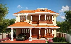 #Traditional #kerala #Home design @ 3016 Square feet  Ground floor – 1748 Sq.ft Porch Sit out Drawing Courtyard Dining 1 Bedroom attached toilet wet and dry area 1 Bedroom attached Kitchen Work area Store Common Toilet Varandah First floor – 1268 Sq.ft Balcony Family living Courtyard Study room 1 Bedroom attached toilet wet and dry area 1 Bedroom attached Total : 3016 Sq.ft