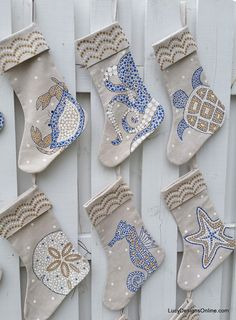 : Coastal Christmas Stockings Hand Painted Coastal Sea Life Stockings … Coastal Christmas Decor Beautifying Your Home - Home and Kitchen Design Inspiration Coastal Christmas Stockings, Coastal Christmas Decor, Nautical Christmas, Tropical Christmas, Coastal Decor, Christmas Decorations, Purple Christmas, Beach Christmas Trees, Scandinavian Christmas