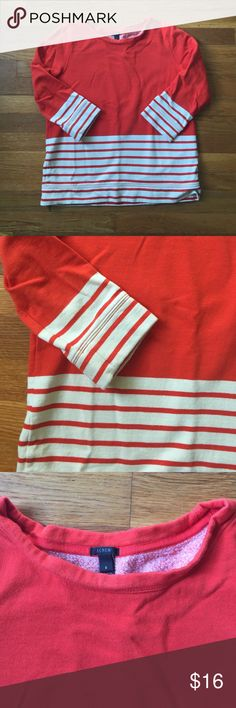 J. Crew: Orange 3/4 Sleeve Sweatshirt Can be dressed up or dressed down, this sweatshirt is a bright orange with cream colored stripe detail at the bottom and sleeves. J. Crew Tops Sweatshirts & Hoodies