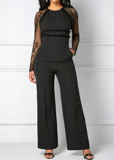 Lace Panel Zipper Back Black Pocket Jumpsuit Chic Outfits, Sexy Outfits, Fall Outfits, Fashion Outfits, Womens Fashion, Estilo Meghan Markle, Lace Jumpsuit, Short Jumpsuit, Jumpsuits For Women