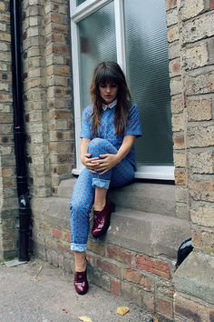 the little magpie. matching print top and bottom with burgandy patent shoes.
