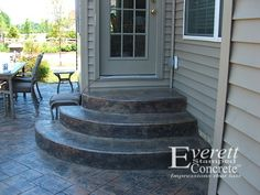 Stamped concrete stairs and patio.