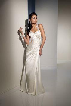 One-shoulder Satin Wedding Dress with Appliques