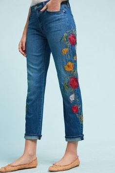 7 For All Mankind Embroidered Mid-Rise Straight Boyfriend Jeans