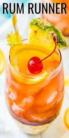 This Rum Runner Cocktail is a fruity and refreshing cocktail made with banana, blackberry, orange, and pineapple flavors! Rum Cocktail Recipes, Rum Recipes, Alcohol Drink Recipes, Rum Alcohol, Alcoholic Punch Recipes, Rum Punch Recipes, Margarita Recipes, Cocktail Drinks, Refreshing Cocktails