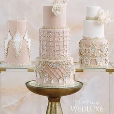 Just how beautiful are these exquisite pearl and crystal embellished soft hued cakes, inspired by Oliver Rousteing's well known designs for the fashion label Balmain. Intricately and superbly designed by @finecakesbyzehraofficial | Planner @shealynangus |  @mangostudios | ✨ Decor @dancefloordecor | As featured in @wedluxe      . . . ✨