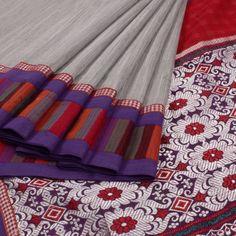 Tvaksati Handcrafted Chanderi Cotton Concept Saree with Multicolour Border & Mishing Weave Pallu 10007757 - profile - AVISHYA.COM