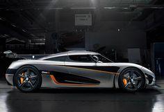 Koenigsegg One:1 5 litre V8 RWD 2014   Koenigsegg   One:1 price 2 500 000 $  speed  430 kph / 267 mph  0-100 kph 2.5 seconds  Power 1360 bhp / 1000 kW  bhp / weight 1000  bhp per tonne  Displacement    5  litre /  5032 cc  Weight 1360  kg /  2998  lbs
